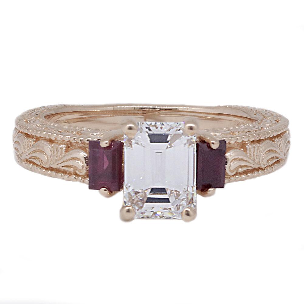 Emerald Cut GIA Diamond Engagement Ring Rose Gold 14k