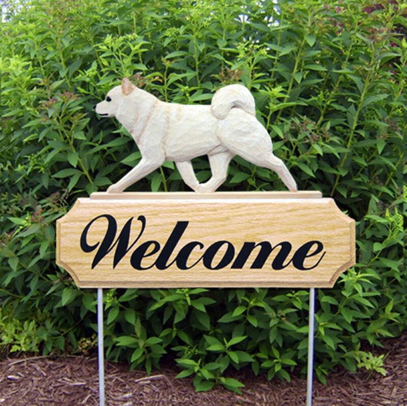 Shiba Inu Wood Welcome Outdoor Sign Cream