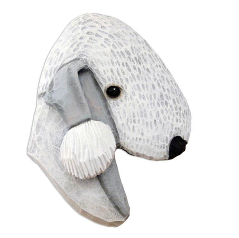 Bedlington Terrier Head Plaque Figurine Blue