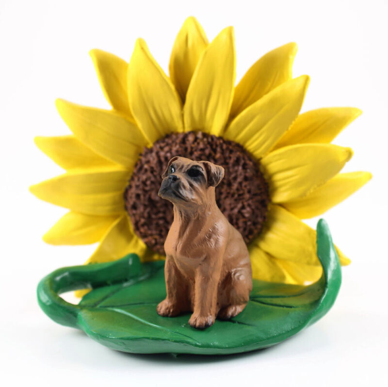 Boxer Sunflower Figurine Tawny Uncropped
