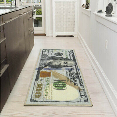 Cool Rugs For Men Bedroom Bathroom Hallway Office Runner Funny Money Floor Mat - Runner Floor