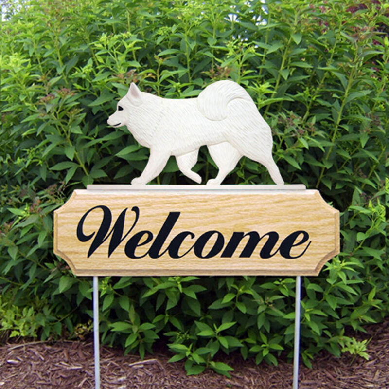 American Eskimo Wood Welcome Outdoor Sign