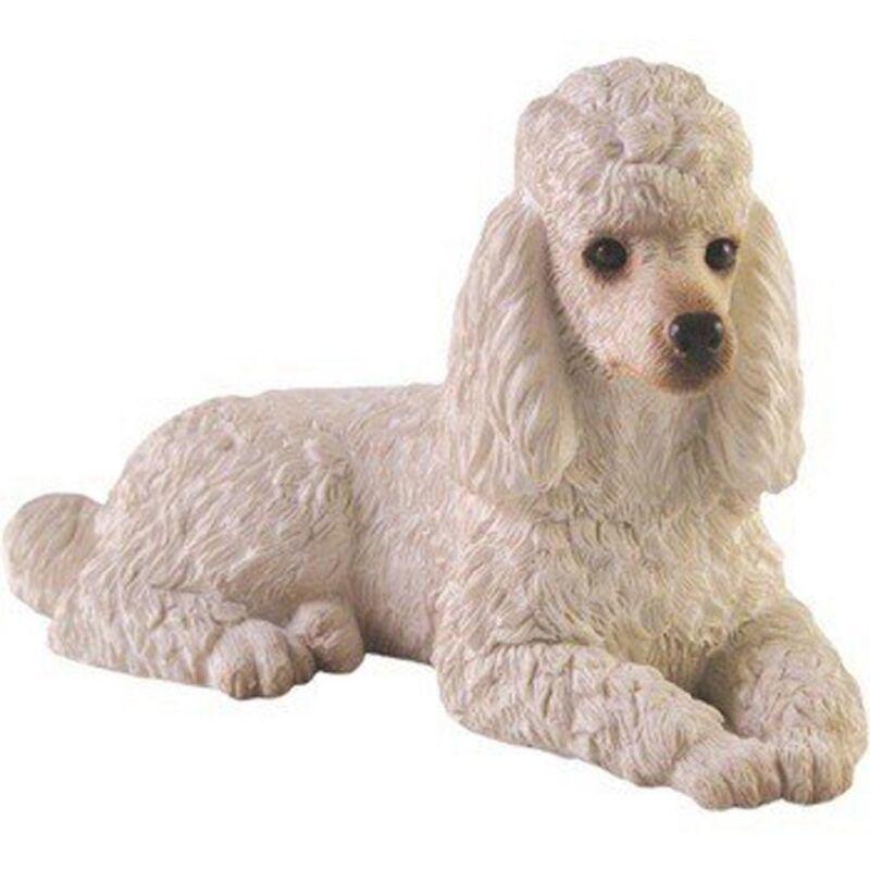 Poodle Figurine Hand Painted White - Sandicast