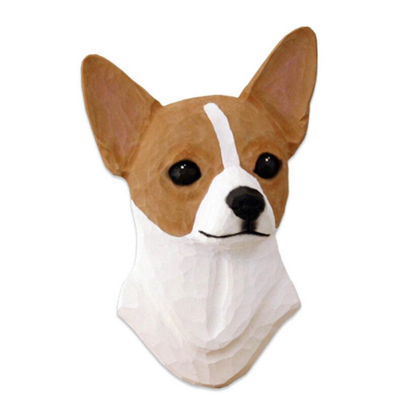 Chihuahua Head Plaque Figurine Fawn/White
