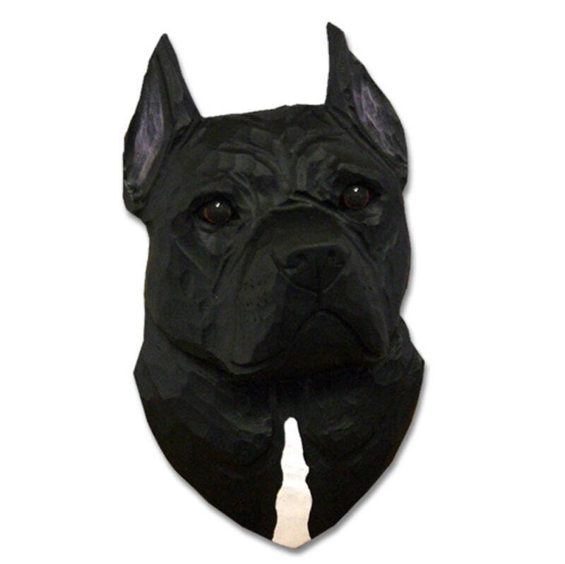 American Staffordshire Terrier Head Plaque Figurine Black