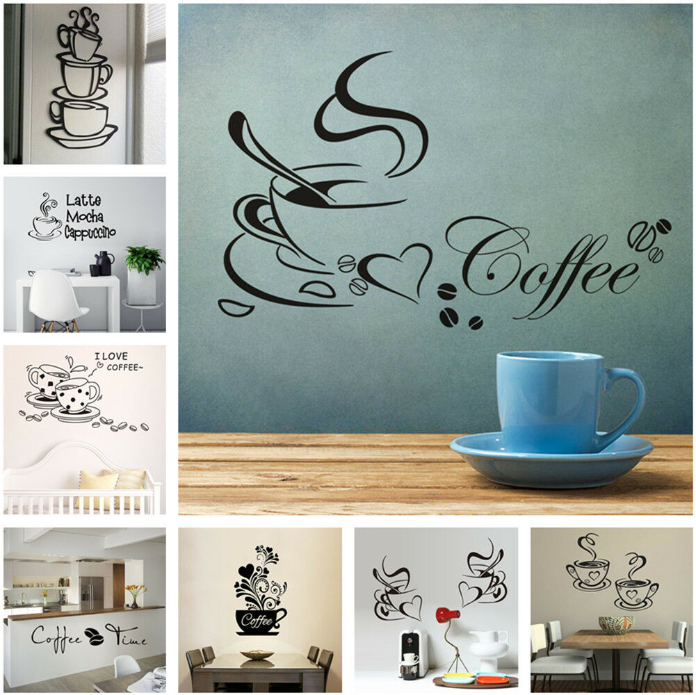 Home Decoration - DIY Coffee Cup Wall Sticker Decal Vinyl Art Mural Home Decor Removable 14 Styles
