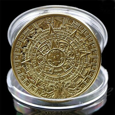 1x Gold Plated Mayan Aztec Calendar Souvenir Commemorative Coin Collection Gift