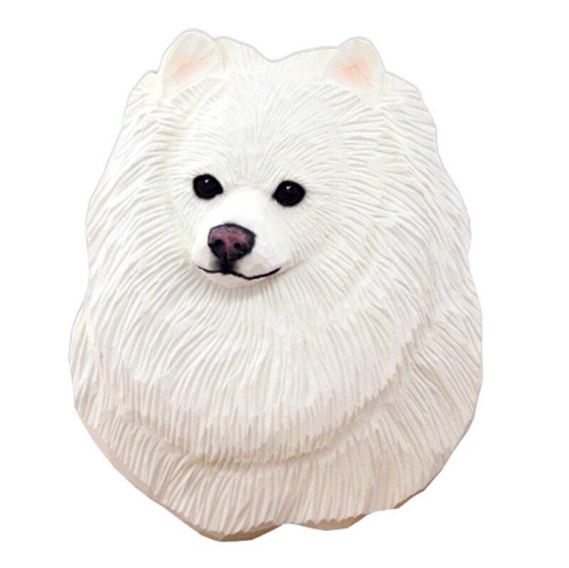 Pomeranian Head Plaque Figurine White