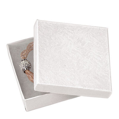 1 White Jewelry Boxes (Jewelry Boxes 100 Swirl White Cotton Filled Gift 3 ½