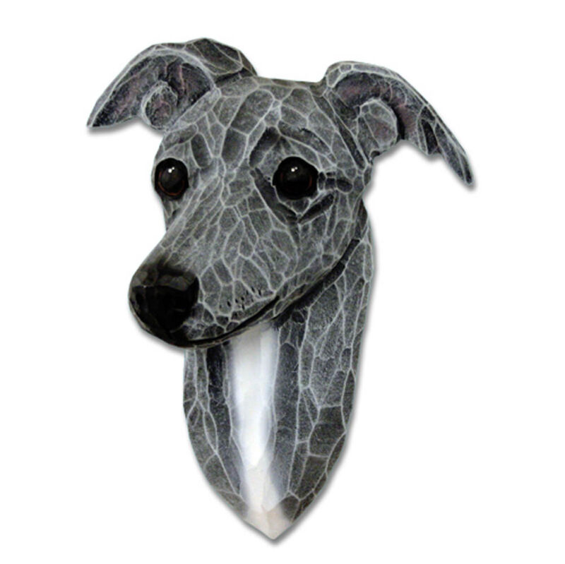 Italian Greyhound Head Plaque Figurine Blue