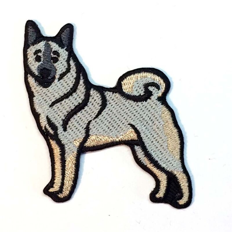 Norwegian Elkhound Iron On Embroidered Patch