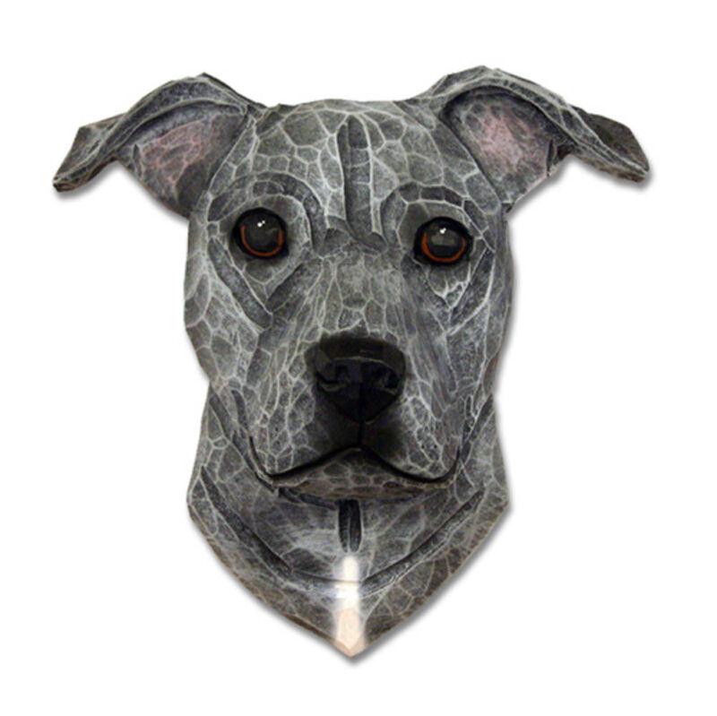 Am.Staffordshire Terrier Head Plaque Figurine Blue Uncropped