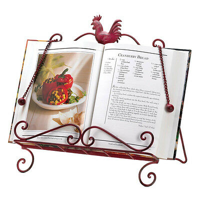 BRAND NEW! Kitchen Book Holder RED ROOSTER COOKBOOK STAND Recipe Book Display
