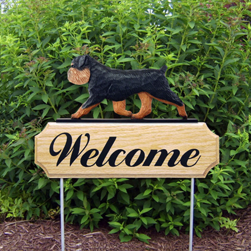Brussels Griffon Wood Welcome Outdoor Sign Black/Tan Uncropped