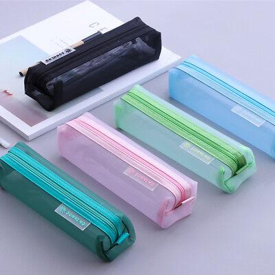 Nylon Pencil Bag (Portable Transparent Student Pen Pencil Case Nylon Mesh Pouch Makeup Bag)