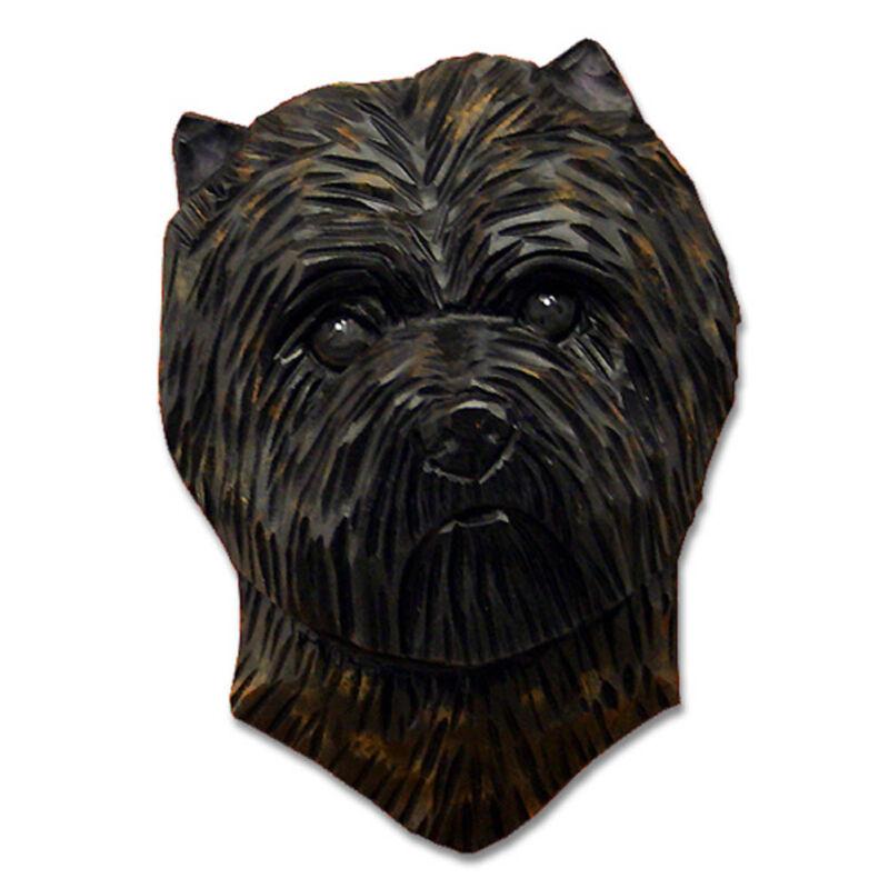 Carin Terrier Head Plaque Figurine Black/Brindle