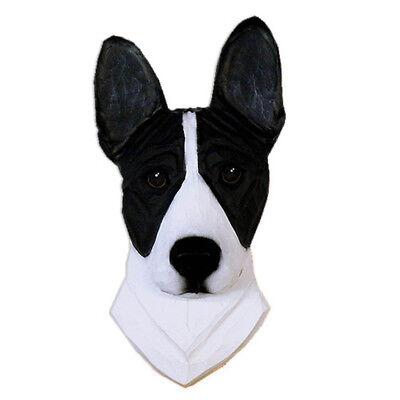 Basenji Head Plaque Figurine Black/White