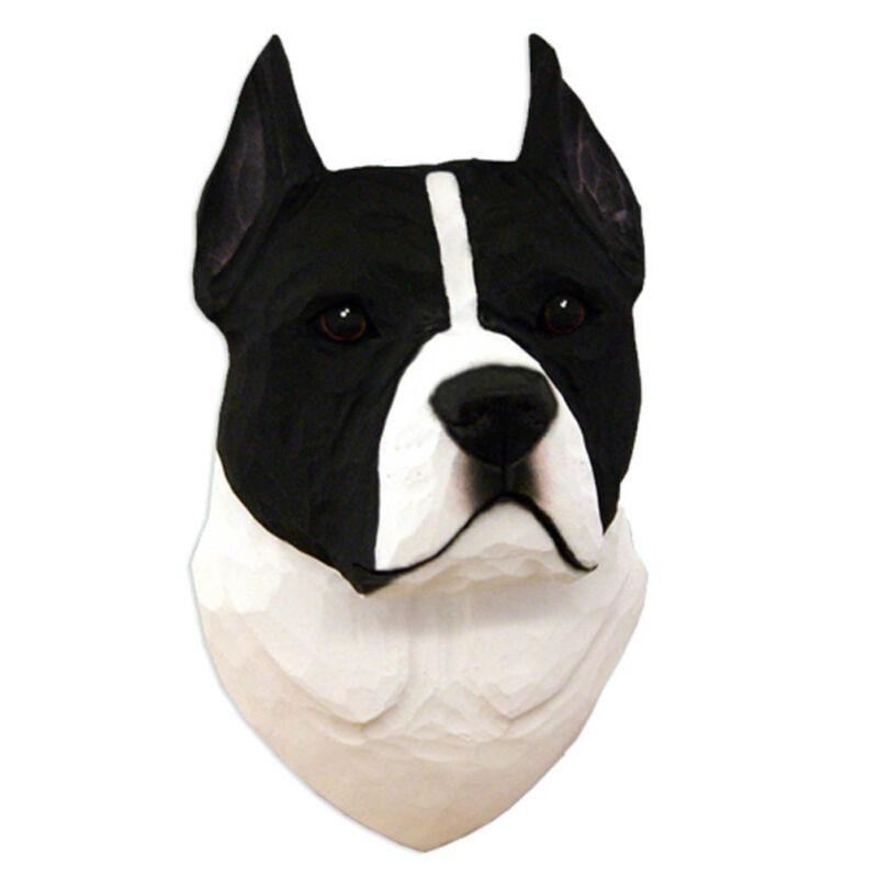 American Staffordshire Terrier Head Plaque Figurine Black/White