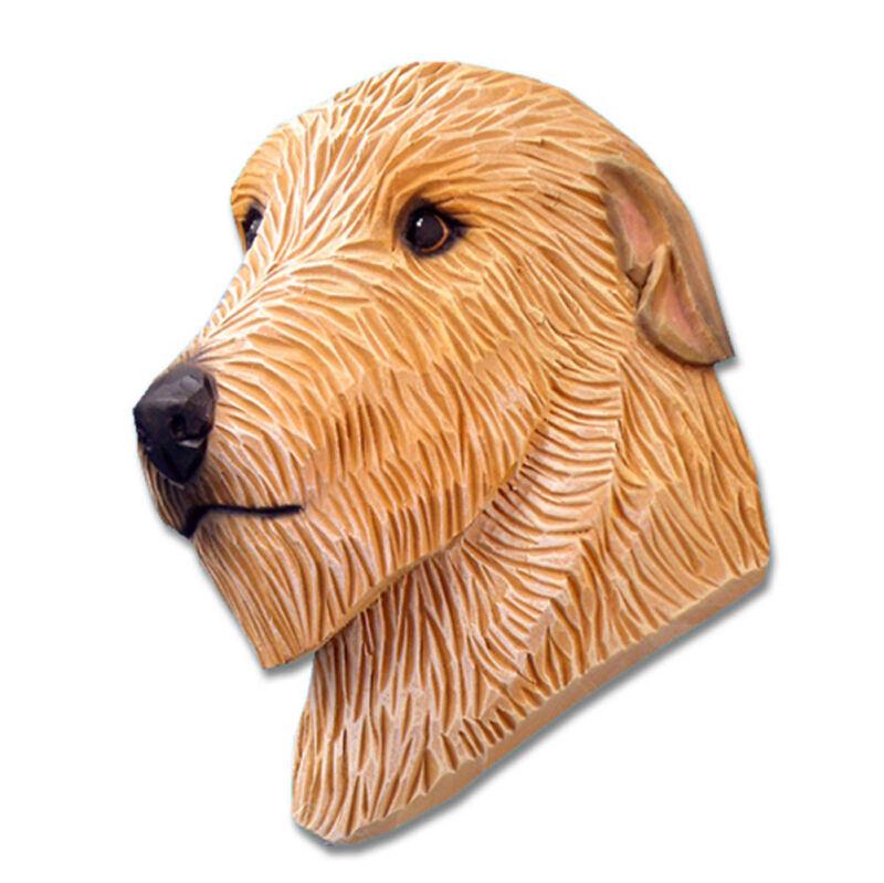Irish Wolfhound Head Plaque Figurine Fawn