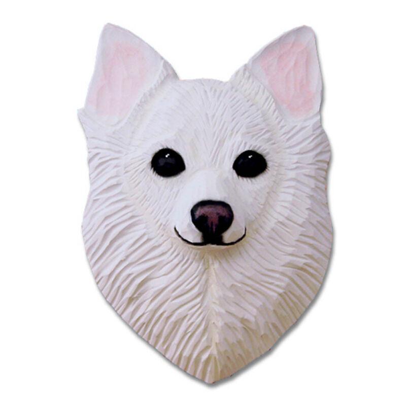 Chihuahua Head Plaque Figurine White Longhair