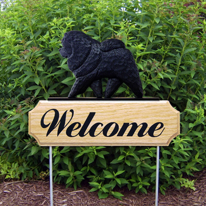 Chow Chow Wood Welcome Outdoor Sign Black