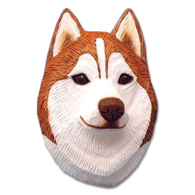 Husky Head Plaque Figurine Red/White