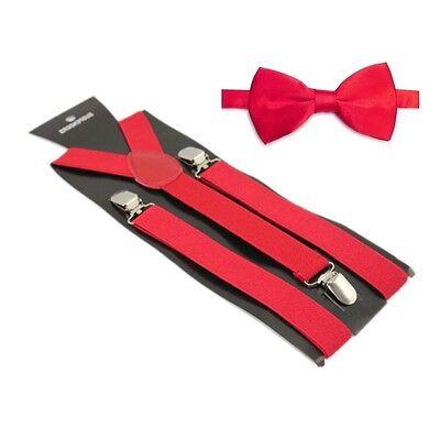 Hosenträger und Fliegen Set -Y Form 25mm 3 Clips Herren Fliege Suspender Rot