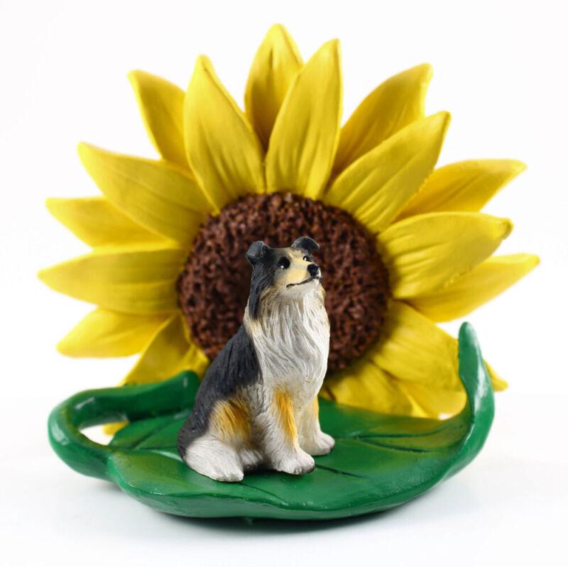 Collie Sunflower Figurine Tri