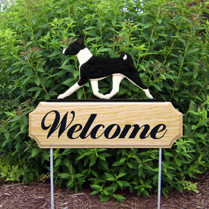 Basenji Wood Welcome Outdoor Sign Black/White