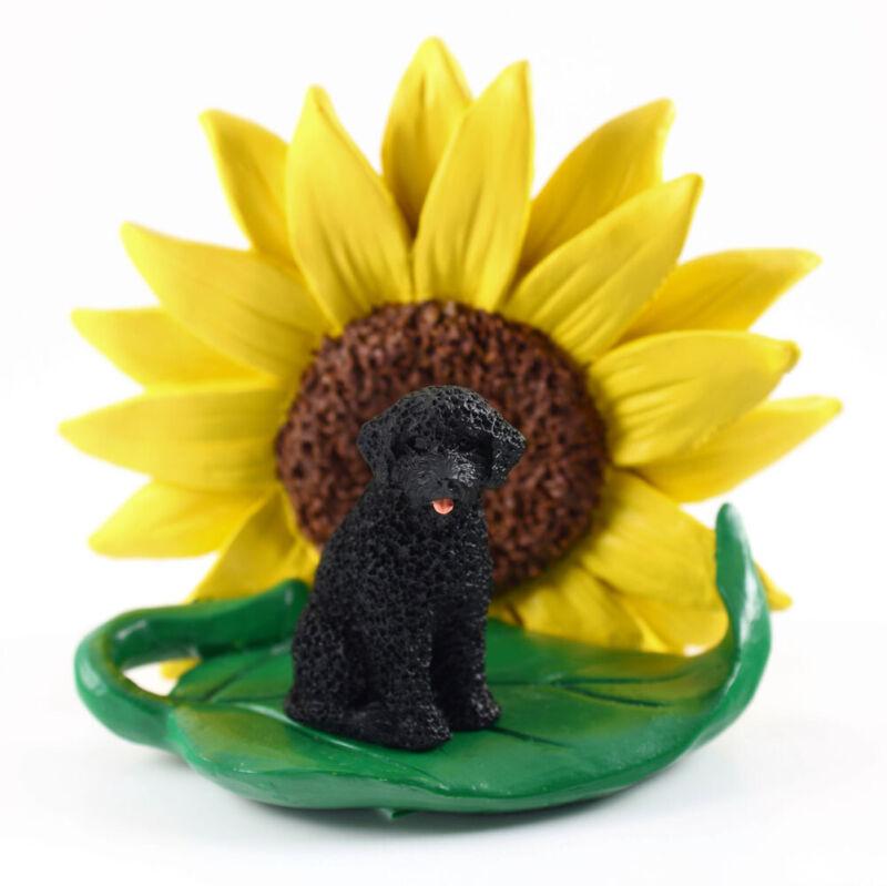 Portuguese Water Dog Sunflower Figurine
