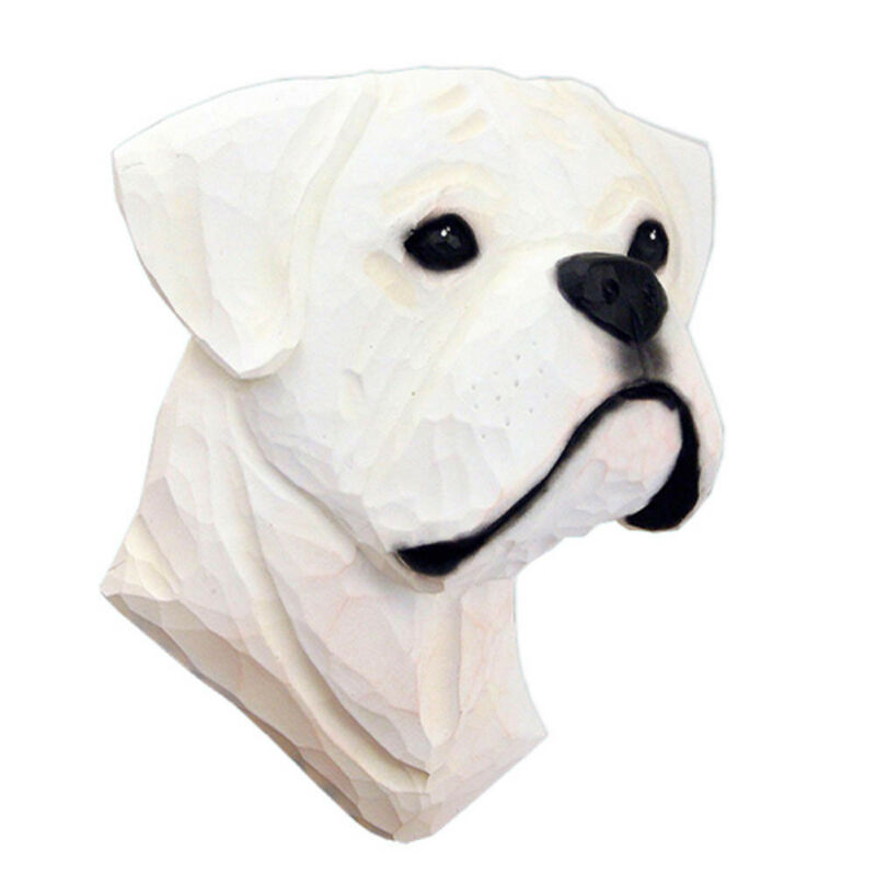 Boxer Head Plaque Figurine White Uncropped