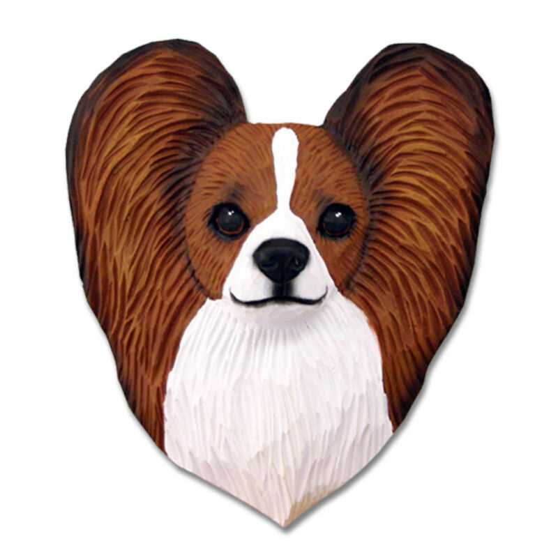 Papillon Head Plaque Figurine Brown/White