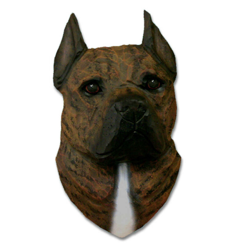 American Staffordshire Terrier Head Plaque Figurine Brindle