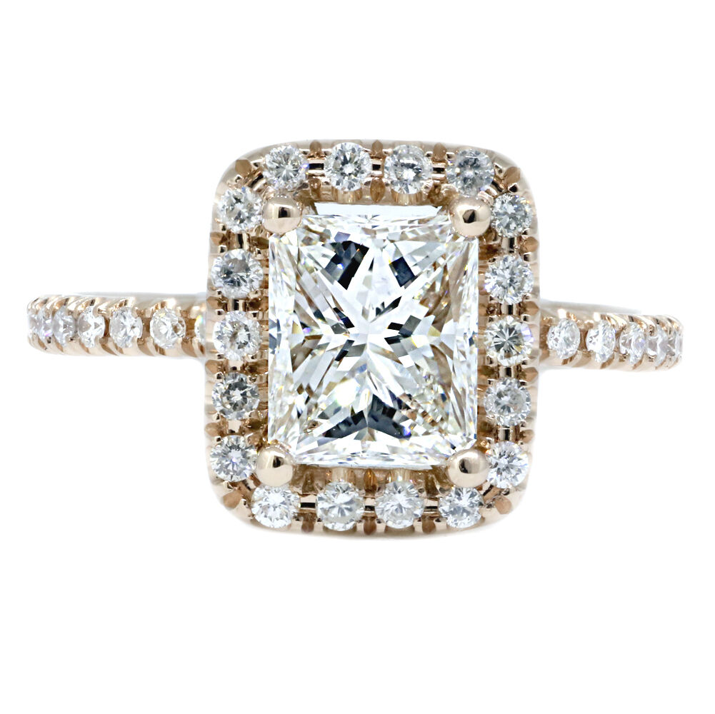 GIA 2.00 Ct Radiant Cut Diamond Engagement Ring Halo G VS2 14k Rose Gold