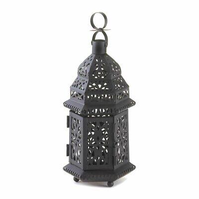 Outdoor Lanterns, Moroccan Hanging Metal Decorative Floor Outdoor Lantern, Black Iron Outdoor Hanging Lantern