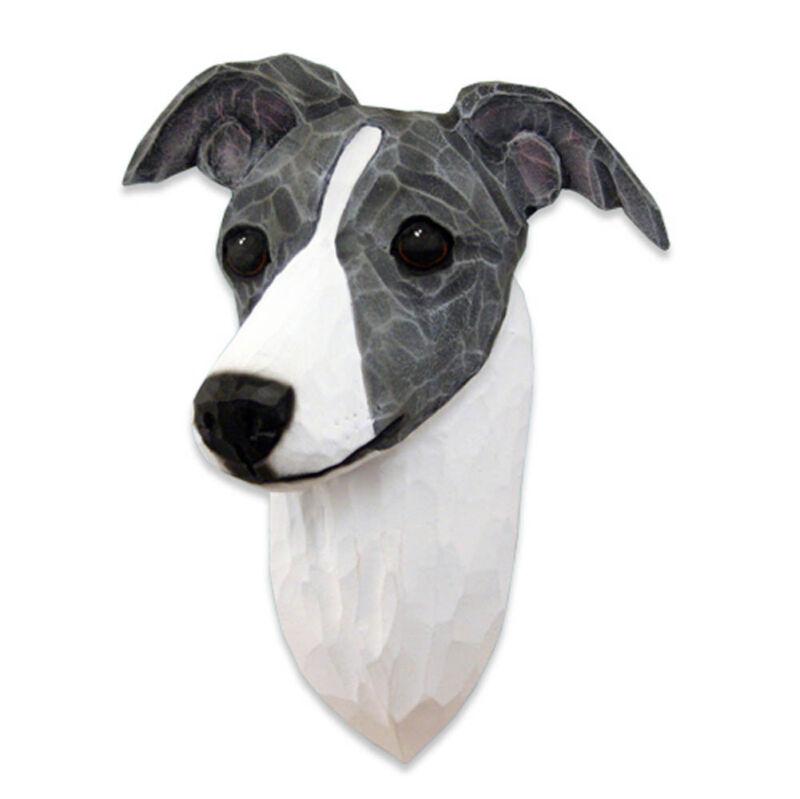 Italian Greyhound Head Plaque Figurine Blue/White