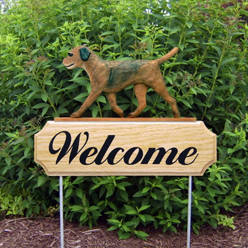 Border Terrier Wood Welcome Outdoor Sign Brown