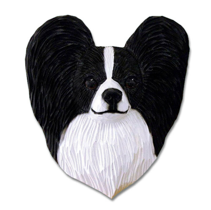 Papillon Head Plaque Figurine Black/White