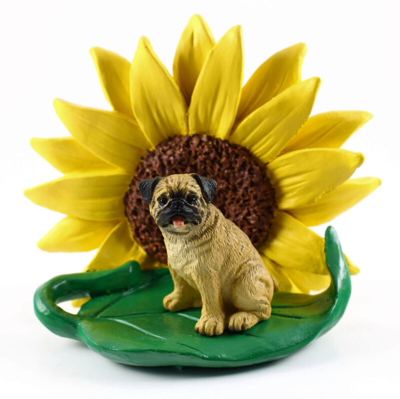 Pug Sunflower Figurine Fawn