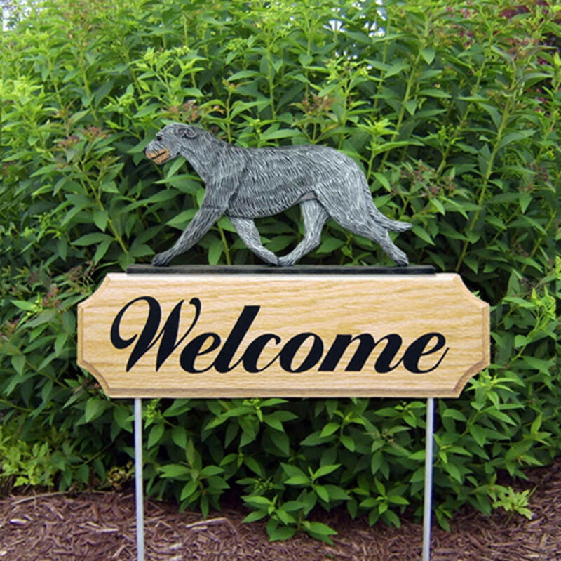 Irish Wolfhound Wood Welcome Outdoor Sign Gray