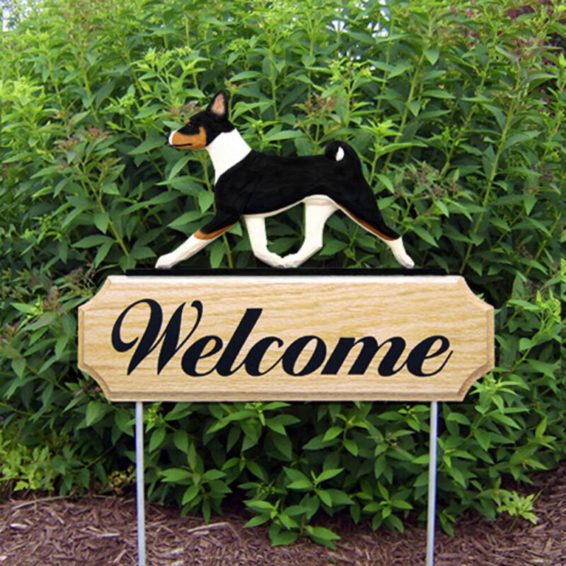 Basenji Wood Welcome Outdoor Sign Tri-Color