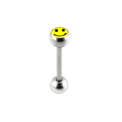 Smiley Face Logo Picture Ball Straight Barbell Tongue Bar Piercing Jewellery
