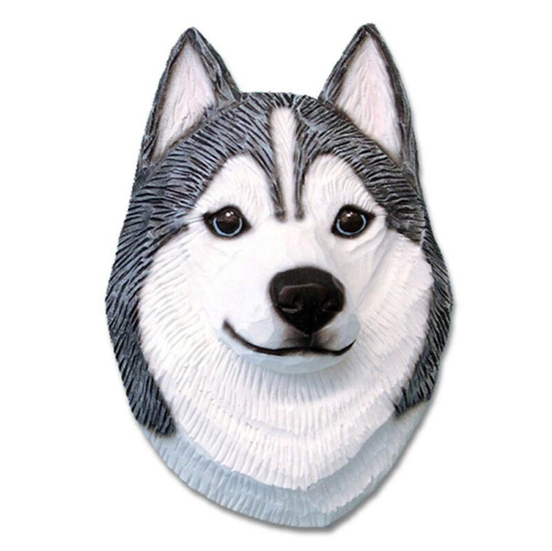 Husky Head Plaque Figurine Grey/White