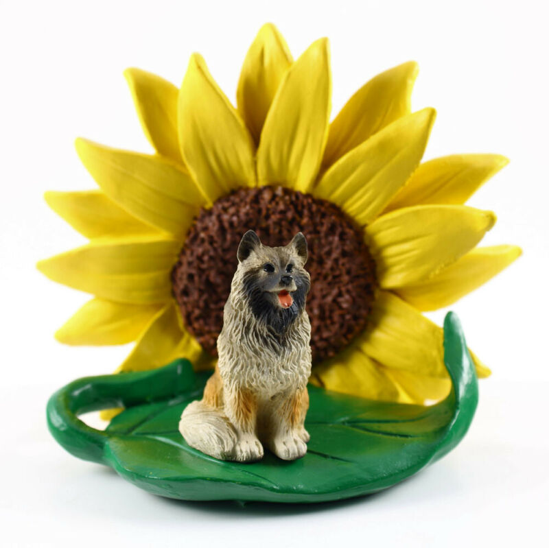 Keeshond Sunflower Figurine