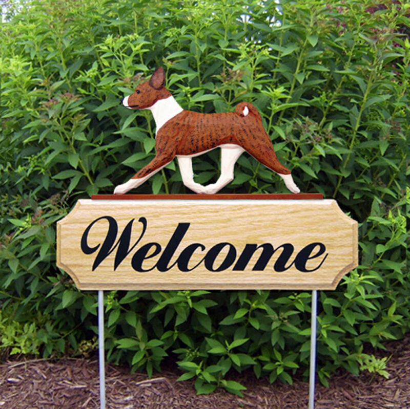 Basenji Wood Welcome Outdoor Sign Brindle/White