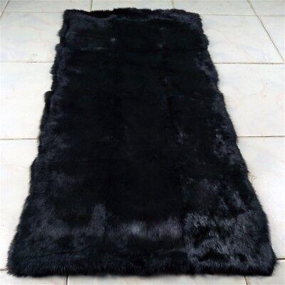 LUXURY REAL Black Rabbit FUR THROW BLANKET RUG Skin Fur Rug Pelz Leather Pelt for sale  China