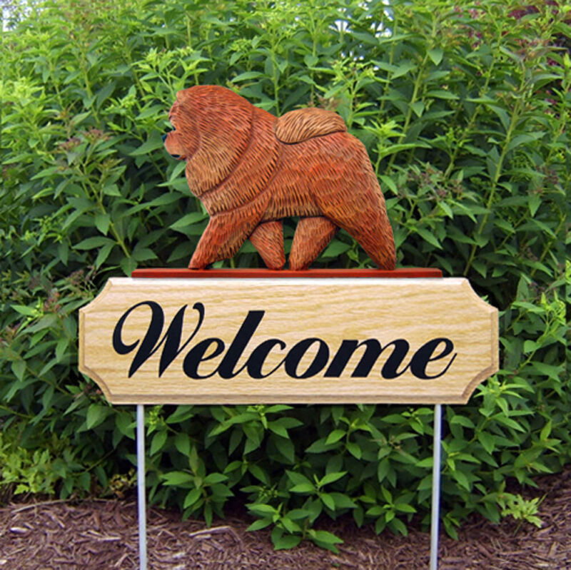 Chow Chow Wood Welcome Outdoor Sign Red