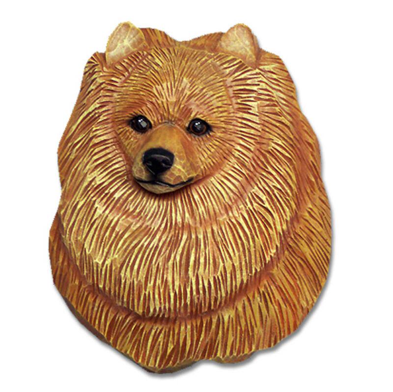 Pomeranian Head Plaque Figurine Orange