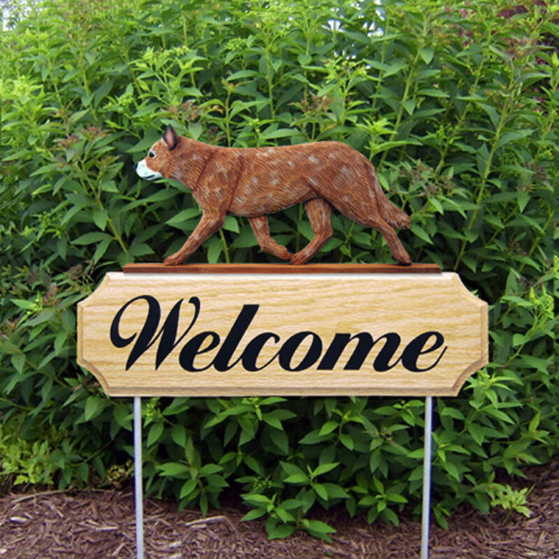Australian Cattle Dog Wood Welcome Outdoor Sign Red