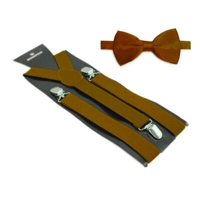 Hosenträger und Fliegen Set -Y Form 25mm 3 Clips Herren Fliege Suspender Braun